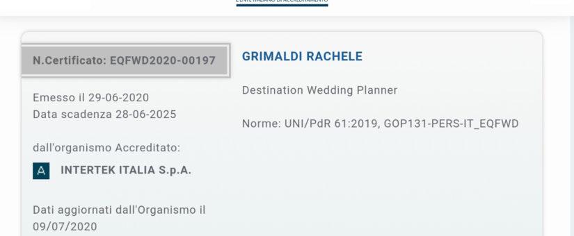 Certificazione Destination wedding planner e Wedding planner .